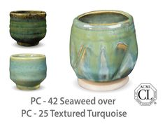A subtle turquoise gloss, green-beige where thin, but a  beautiful aqua where thick. Great for textured ware and mixing with other Potter's Choice glazes.