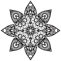 Coloring Page, Zentangle Flower, Printable Coloring Page, Instant Download, Psychedelic, Flower Art, Zentangle, Black and White