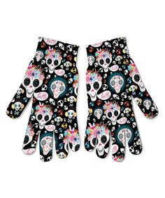 Look at this Black Sugar Skull Gloves - Women on #zulily today!