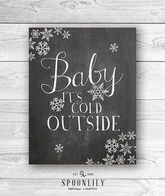 Baby it's cold Outside Christmas Art Print Christmas by SpoonLily