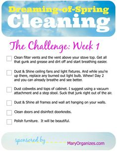 Dreaming-of-Spring Cleaning, Week 1 is starting!!!