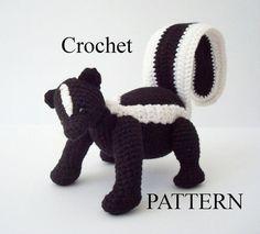 Striped Skunk Crochet Pattern Digital by OohLookItsARabbit on Etsy, $5.00