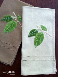 Embroidered napkins. Coffee and taupe linen napkins with woodland embroidery. NellyBelle  Designs