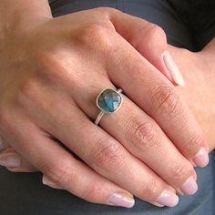 Labradorite Square Silver Ring by Tangerine Jewelry Shop | Fashion Jewelry