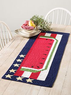 A Star Spangled Banner Table Runner Kit pattern from Annie's Craft Store. Order here: https://www.anniescatalog.com/detail.html?prod_id=122894&cat_id=1644