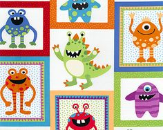 1000 images about baby dillion and tristan 39 s new room on for Monster themed fabric