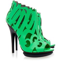United Nude Neon Green Calligraffiti Calf Leather Shoe ($165) ❤ liked on Polyvore featuring shoes, sandals, green, boots, heels, heeled sandals, laser cut shoes, leather sole shoes, green heeled shoes and neon green shoes