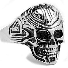 Oliveti Stainless Steel Men's Cast Skull Ring (Size 15), White