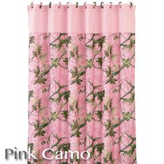 New Pink Camo Shower Curtain with a solid pink trim border and 12 fabric covered matching shower curtain rings.