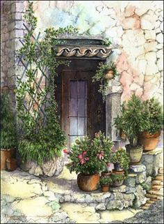 Doors and Windows of Tuscany: watercolor paintings and prints Watercolour Painting, Painting & Drawing, Watercolors, Pinterest Arte, Pictures To Paint, Painting Inspiration, Tuscany, Colored Pencils, Landscape Paintings