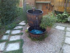 fountain made out of wine barrels