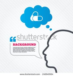 Head with speech bubble. Medical pills sign icon. Pharmacy medicine drugs symbol. Think background with quotes and seamless texture. Vector - stock vector