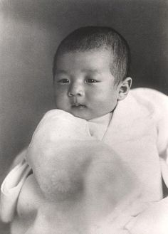 First picture of the Japanese heir to the throne crown prince Akihito, three months old. Tokyo, Japan, March 1934.