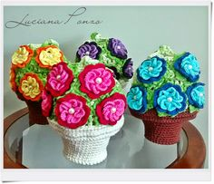 Luciana Ponzo Criações em Crochê: Puxa saco vasinho de flores