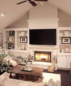 Design Fireplace Wall family room tv and fireplace wall with hidden storage family room 20 Living Room With Fireplace That Will Warm You All Winter