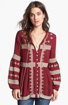 Free People 'Iris' Peasant Top available at #Nordstrom