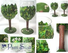 First polymer clay covered tree wine glasses, with Nature Spirit Deva face, by Patti Stoll, 2004