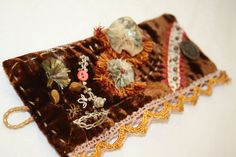 Velvet Fabric Textile Cuff Renaissance Hand Embroidery Brown. $92.00, via Etsy.