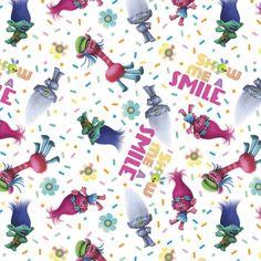 Dreamworks Trolls Show Me A Smile White Fabric Sc  Trolls Material Trolls By