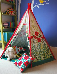 I've just found Child Teepee, Mat And Cushion Poppy Design. Stunning child play teepee featuring vibrant red poppies and dandelion puffs. Play Teepee, Teepee Kids, Teepee Tent, Teepees, Play Tents, Make Do And Mend, Playroom Decor, Kids Corner, Baby Crafts