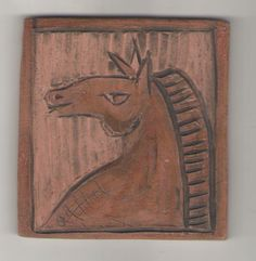 Carved Horse on tile by Bella Odendaal Tiles, Carving, Horses, Room Tiles, Tile, Wood Carvings, Sculptures, Printmaking, Horse
