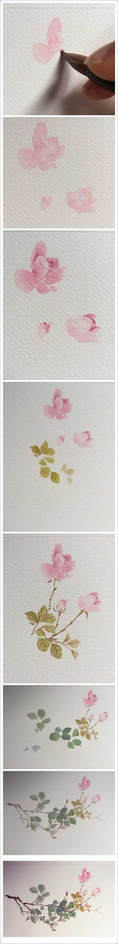 Watercolor art: Roses