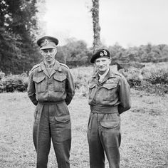 Lieutenant General Miles Dempsey, commanding British 2nd Army, with General Sir Bernard Montgomery in France, 16 July 1944.