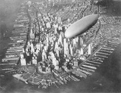 """""""The airship USS Akron flying over the southern tip of Manhattan circa The Akron was a commissioned 'ship' of the United States Navy, built for them by the Goodyear-Zeppelin. Photo New York, New York Photos, Old Pictures, Old Photos, Vintage Photos, Antique Photos, Urban Photography, Vintage Photography, Aerial Photography"""