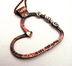 Copper Heart Necklace - Hand Stamped Jewelry -  Personalized Mixed Metal Necklace with Cold Connections Riveted Valentines Gift- CIJ., via Etsy.   Must try!  #ecrafty @Kim at eCrafty.com #stampedmetalblanks #jewelrysupplies  #stampedmetaljewelry #necklacesupplies #ballchainnecklaces #jumprings #metalstampingblanks