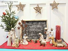 The Happy Housie Christmas Home Tour nativity vignette in entry hall