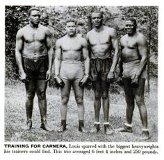 Joe Louis training with big guys for a fight with Primo Carnera. He would win this one by KO 6