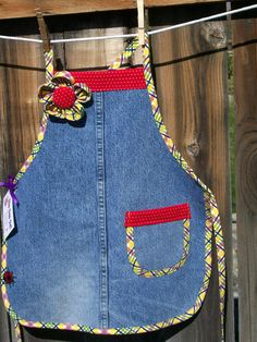 Jean Girl Upcycled Denim Apron with Fabric Flower - Size 6 to 8 - Blue Jean Apron Girl - Girls Denim Apron