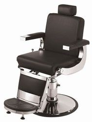 Barbiere Barber Chair Padded & upholstered seat & back Upholstered armrests w/ metal endcaps Reclines to approximately a 130 degrees