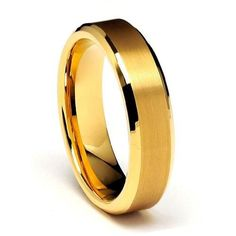 6mm Gold Tone Beveled Edge Men's Tungsten Wedding Band