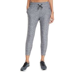The North Face Motivation Light Capri Jogger ($63) ❤ liked on Polyvore featuring activewear, activewear pants, tnf dark grey hea and the north face