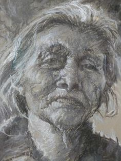 Such a strong face - The Gifts Of Age by Ellen Dreibelbis - Drawing - Charcoal, With Touches Of White Pastel