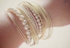 Cute Way To Stack Pearl Bracelets...