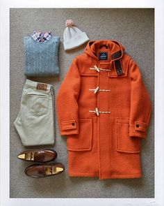 Today's Outfit. #Gloverall Monty Duffle Coat #RalphLauren Cashmere Sweater RalphLauren Check BD-Shirt #ArchivalClothing Pom-Pom Knit Cap #RRL Slim Fit Twill Pants #JMWeston 180 Signature Loafer #OutFitoftheDay #OutFitGrid #OOTD #DailyFashion...