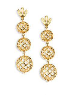 Lele Sadoughi - Tiered Pineapple Clip-On Drop Earrings