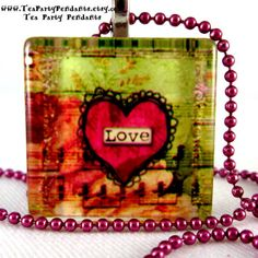 Love Jewelry Glass Tile Pendant Necklace with Free Colored Chain and Gift Bag