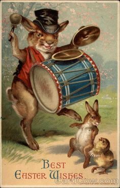 Bunny With a Drum Series 18113, 18143, 18114, Dess Best Easter Wishes