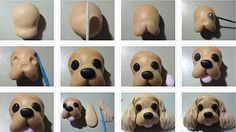 Diagram on how to make dog face from fondant or even clay.... this is great for breeds that have long hair on their ears like cavalier  king charles or cocker spaniel... basically spaniels. Or forgo putting the crinkles in the ears for dachshunds and other long eared dogs