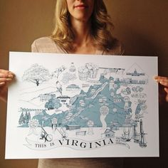 A Map of VIRGINIANA (Art Print) Virginia Cities Towns Virginia College University Regional Superlatives and Kitsch Graduation Gift Wedding Staunton Virginia, Alexandria Virginia, Virginia City, Map Art, Vintage World Maps, Symbols, Cities, Art Prints, History