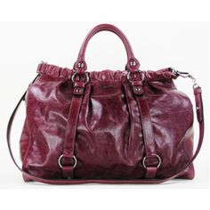 4c43580c62200 Miu Miu 'Vitello Lux Amarena' Mulberry Leather Top-Handle Shopper Tote Bag
