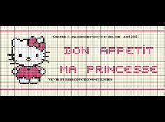 bébé - baby - hello kitty - bon appétit - ma princesse - point de croix - cross stitch - Blog : http://broderiemimie44.canalblog.com/