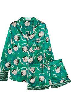 Pajama dressing: Olivia von Halle Alba floral-print silk-satin pajama set - pretty lingerie, lingerie slip, intimates canada *ad