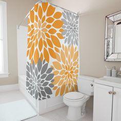 Shop Orange and Gray Chrysanthemums Floral Pattern Shower Curtain created by Giftsforanyoccasions. Orange Bathroom Decor, Orange Bathroom Accessories, Orange Bathrooms, Cheap Bathrooms, Grey Bathrooms, Small Bathroom, Bathroom Ideas, Bathroom Stuff, Master Bathroom
