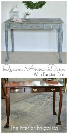 Queen Anne Desk Makeover Before and After | The Interior Frugalista | #InspirationSpotlight