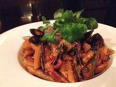 penne pasta with mussels, scallops, shrimp, sweet peppers, sundried ...