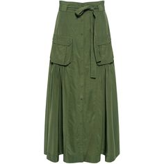 Marissa Webb - Ilsa Maxi Skirt (1,690 CNY) ❤ liked on Polyvore featuring skirts, bottoms, ruched maxi skirt, military green skirt, long green skirt, floor length skirts and gathered maxi skirt